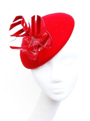 Red felt Beret perspex wave hat