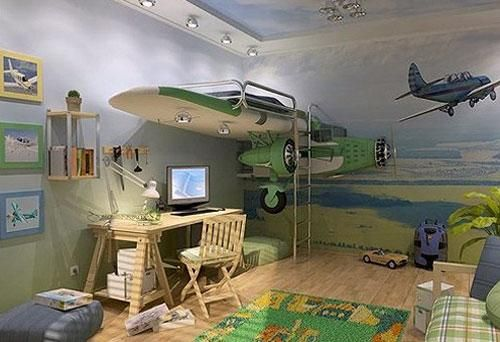 Super Cool Airplane Beds For Boys Bedroom Design With