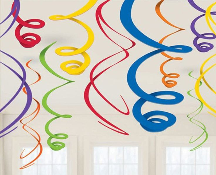 "Rainbow Plastic Swirl Decorations Includes: (12) plastic 22""H swirl decorations. Weight (lbs) 0.2 Length (inches) 7 Width (inches) 6.3 Height(inches) 0.6"