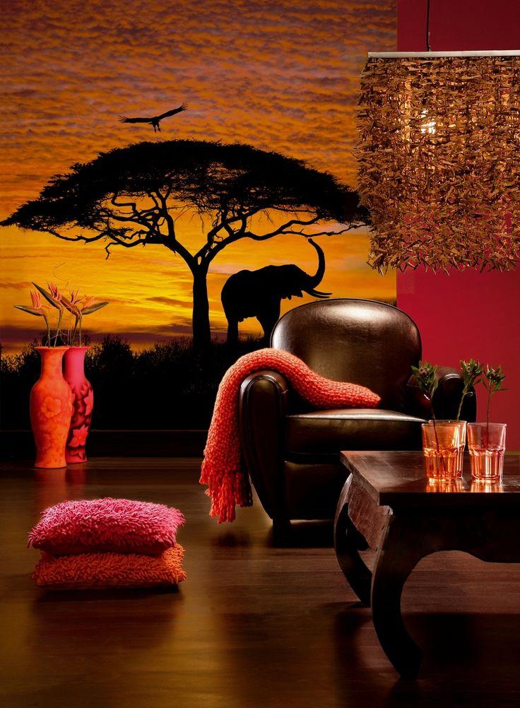 Африканский стиль.Ламинат с рисунком под природные материалы (камень, дерево, песок), пробковое, джутовое покрытие, массив доски темных цветов.