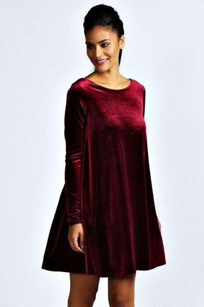 Tabatha Velvet Long Sleeve Swing Dress at boohoo.com