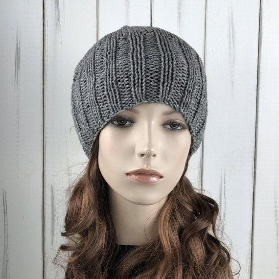 Hand knit hat woman winter hat Grey Wool Hat slouchy hat | Sombreros ...