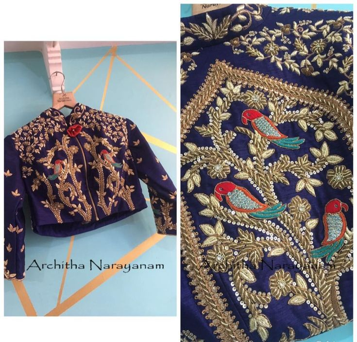 BRIDAL FEAST!Exquisitely handcrafted ensembles with intricate design and workmanship! Beautiful birds on tree design hand embroidery thread work from Architha Narayanam.   08 February 2018
