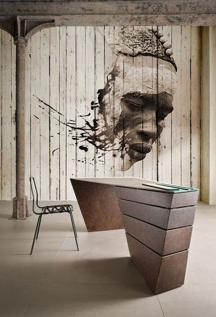 """mural done on narrow panels this paint style is a mix of realism - in figure's face, but then it ends up with very expressive, more edgy and contemporary """"splatters"""" of paint"""