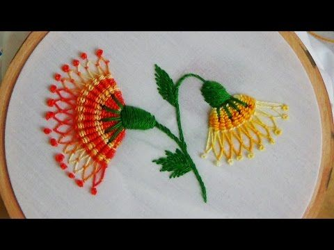 Hand Stitches Tutorial | Long and Short Stitch | Beautiful Flower | HandiWorks #26 - YouTube