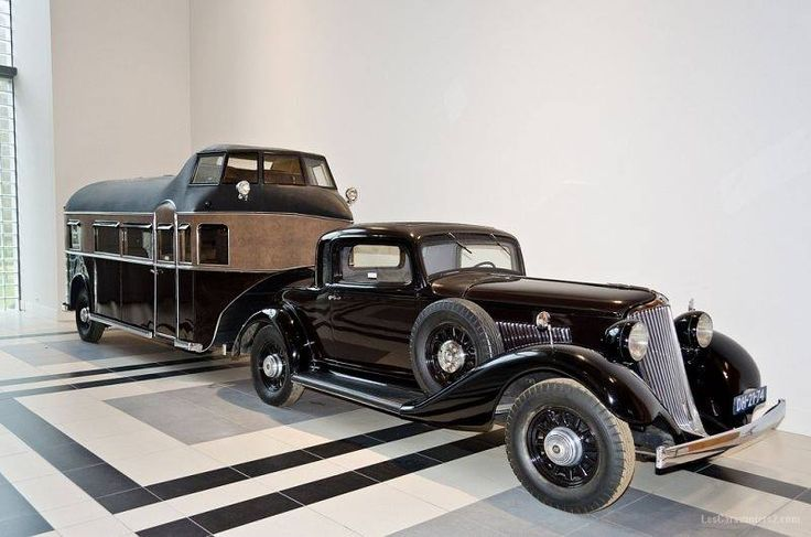 1932 Graham-Paige Blue Streak Coupe with Curtis Aerocar Land Yacht caravan trailer
