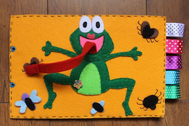 quiet book frog, żaba owady z językiem na rzepy Wykonanie Kaliniaki