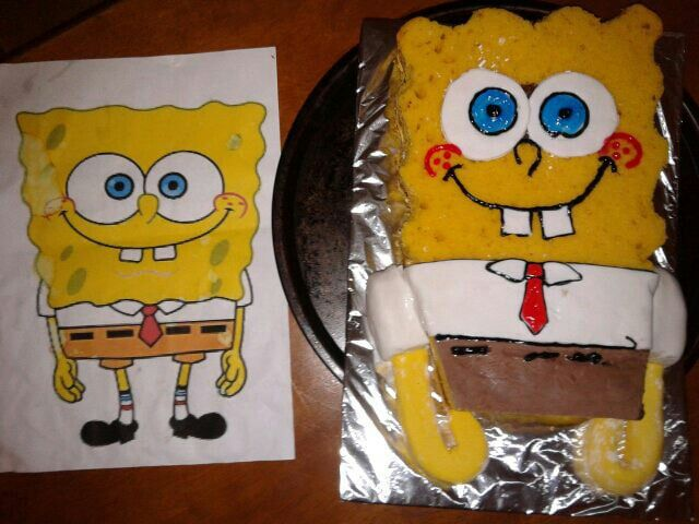 Spongebob squarepants cake, made by me for my brother.