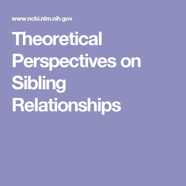 Theoretical Perspectives on Sibling Relationships