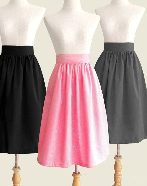 Cotton fully lined midi skirt with pockets  custom size by Ananya