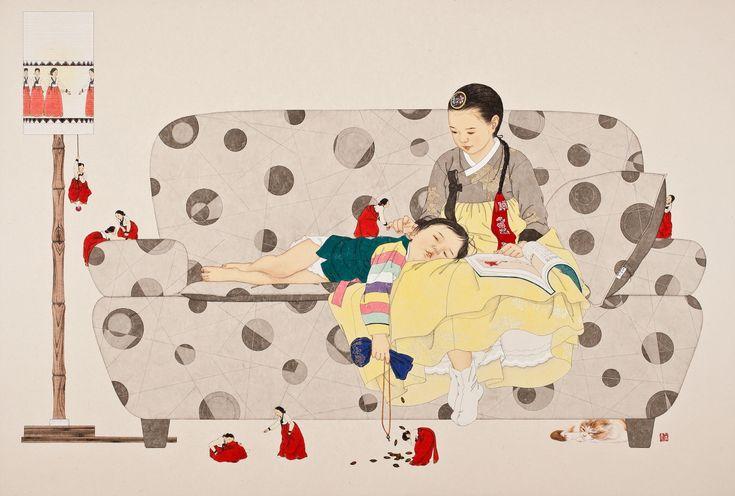 다시 만나다, 109.5x162cm, painting on Korean paper, 2013