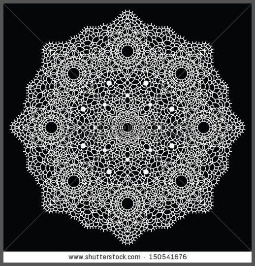 Round lace pattern Mandala Vintage handmade doily Vector