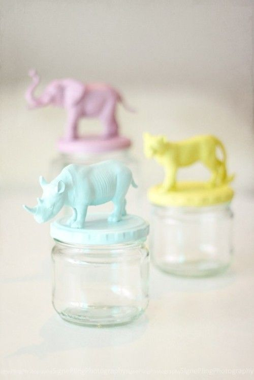 Baby food jar + animal figurine + paint... I might do mason jars instead so I can store things in them!