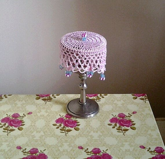 Pink Crochet Wine Doily cup cover or can cosy. by frillydaisy