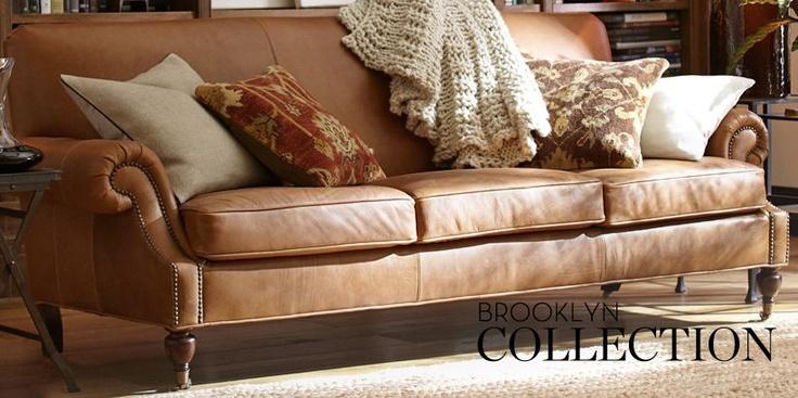 Pottery Barn Brooklyn Leather Sofa Family Room Re Do
