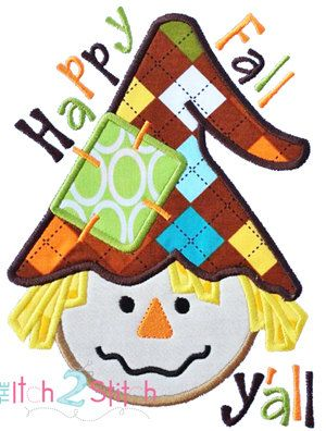 Scarecrow Boy Happy Fall Applique Design For by TheItch2Stitch, $4.00