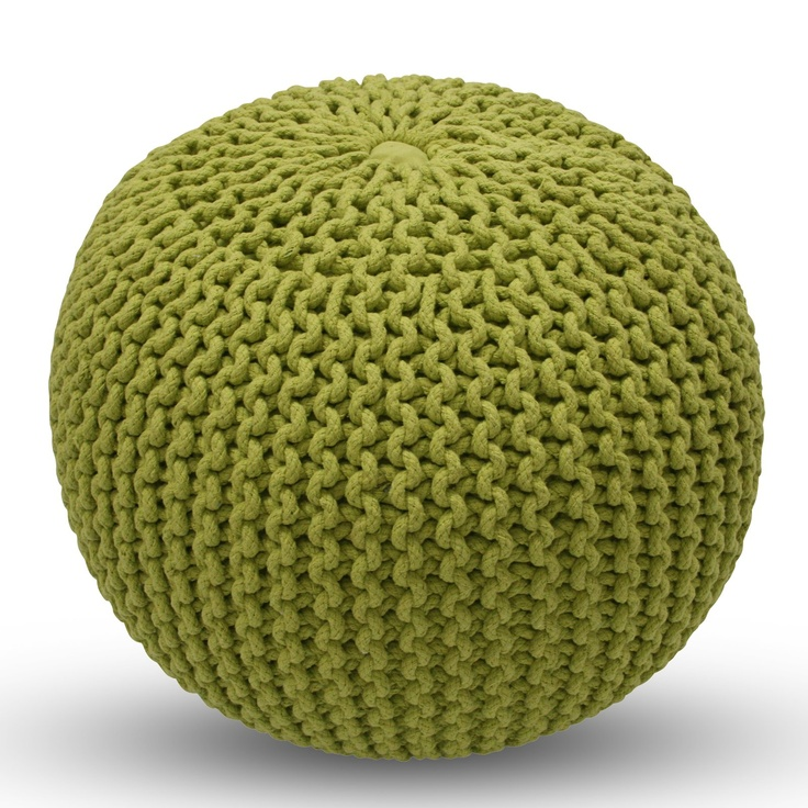 Lime Knitted Pouf.