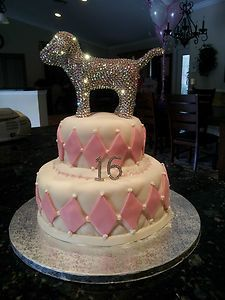(1) Victorias Secret Pink Bling Dog SWAROVSKI CRYSTAL  THIS WILL BE MY CAKE <3
