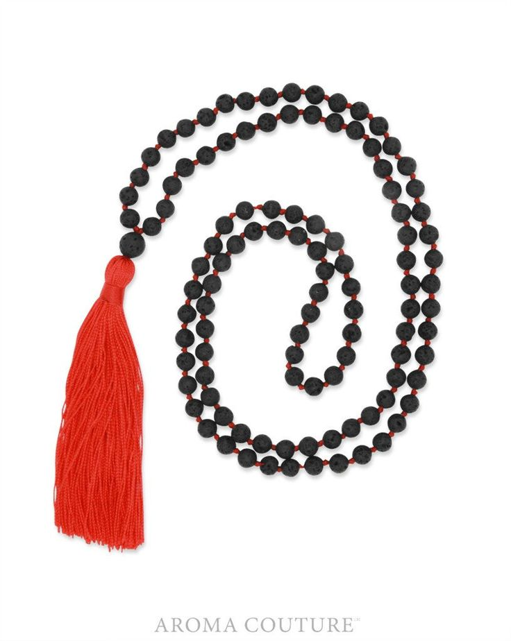Mala Red Diffuser Necklace: Aroma Couture Jewelry
