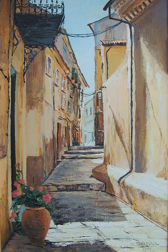 "Title: ""Little street on Corfu Island"" /  Size: 60cmx40cm /  Tech: Impasto"