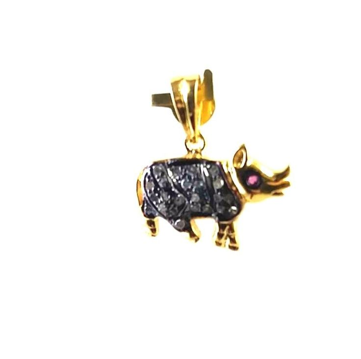 FREE SHIPPING WILD RHINO 925 STERLING SILVER PAVE DIAMOND CHARMS PENDANT JEWELRY #SilvexStore #European