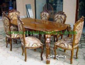 Meja Makan Ukir Jepara produk furniture jepara dengan bahan baku kayu jati berkualitas merupakan produk mebel jepara.