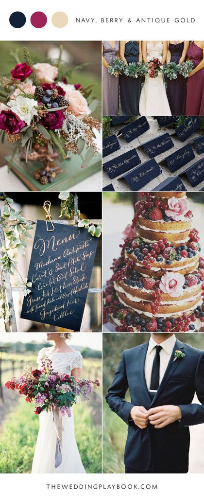 Navy, berry and antique gold wedding mood board