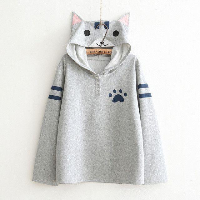 Harajuku Women Thin Hoodies Anime Neko Atsume Hooded Pullover Kawaii Cute Cat Young Student Outwear Mori Girls Japanese Tops WXC