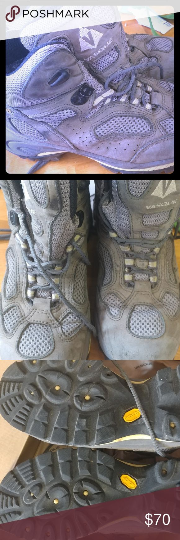 Vasque Hiking boots Incredible hiking boots! Used once on a backpacking trip. They are to big and need a new home. Great cushion and tread left. Let me know if you have any questions. Vasque Shoes Lace Up Boots