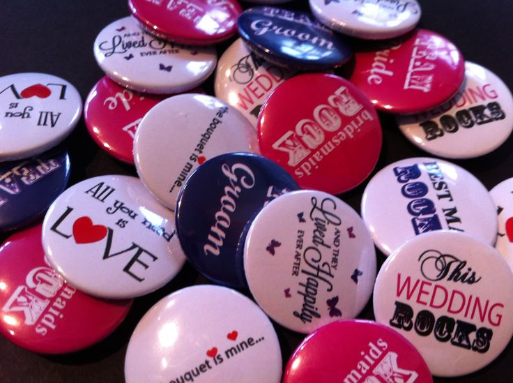 Wedding Favour 25mm Button Pin Badges. All can be customised with words and phrases to suit your special day.