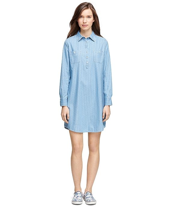 Petite chambray shirt dress — pic 6