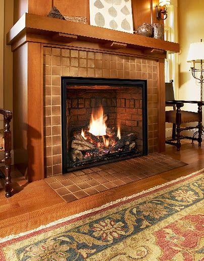 "Mendota FullView 46"" gas fireplace $4142 Builder price. Mid level interior."