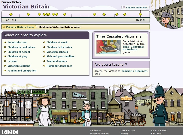 Site designed to teach kids about the Victorian age.