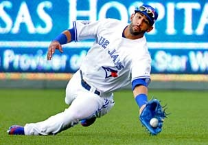 Image: American League outfielder Jose Bautista of the Toronto Blue Jays makes a sliding catch on a ball hit by National League outfielder Ryan Braun of the Milwaukee Brewers during the 2012 All-Star Game (© H. Darr Beiser-USA TODAY Sports via US Presswire)