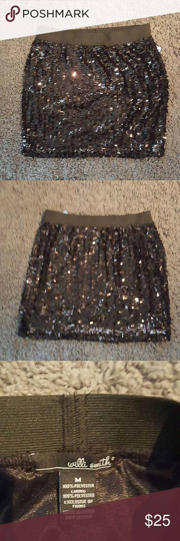 Willi Smith Sequin Mini Skirt Super cute black sequin mini skirt, great for a night out on the town or club. Willi Smith Skirts Mini