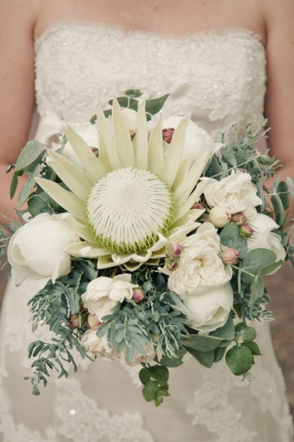 White king protea bouquet with eucalyptus and peonies