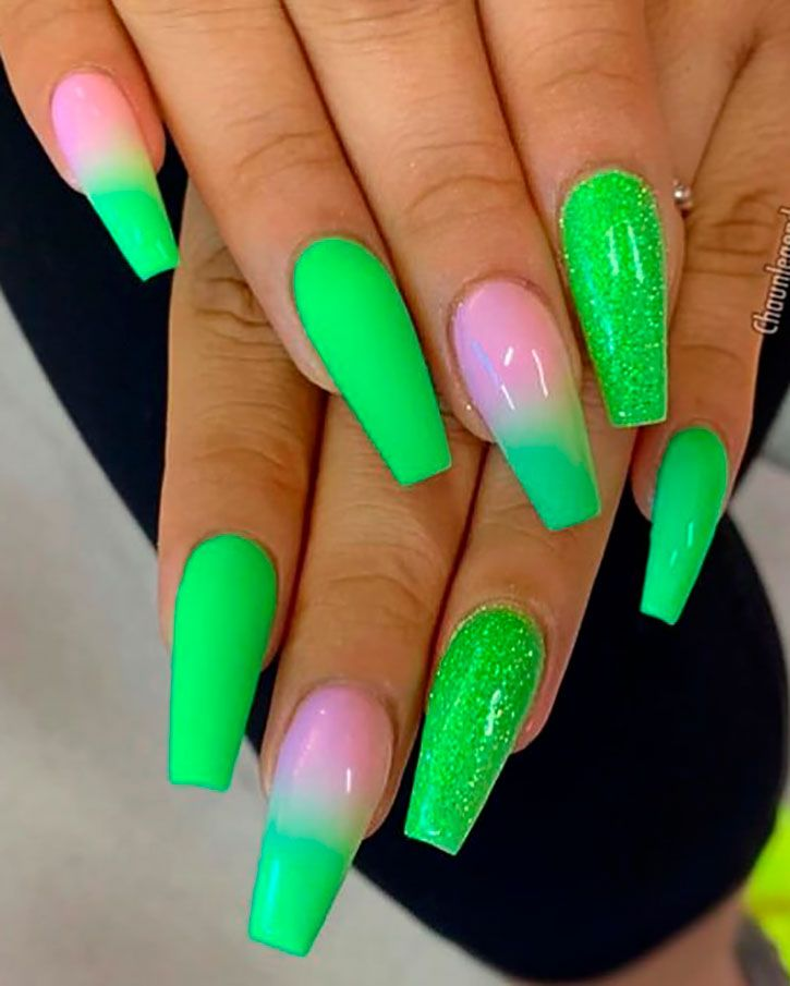 Cute Green Neon Nails Summer Colors Between Glitter And Ombre Neon Nails In 2019 Green Acrylic Nails Neon Green Nails Coffin Nails Designs