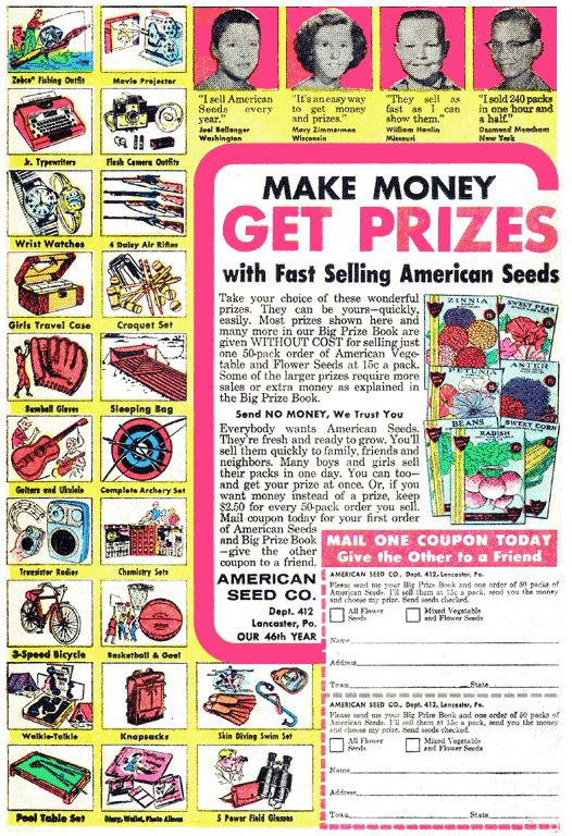 """""""Make Money, Get Prizes...with Fast Selling American Seeds"""" - 1960's American Seed Company ad"""