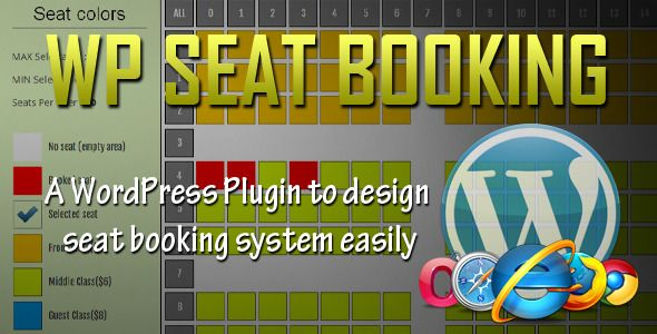 WordPress Seat Booking System   http://codecanyon.net/item/wordpress-seat-booking-system/5776982?ref=damiamio       This scripts allows you to create a seat booking system, that can be applied to anything where you need seats i.e cinema halls, buses, trains, shows, etc. It allows admin to design the interface as per the need. The customers(users) can see that interface to select seats and process them. Here are some of the features   Users can book seats without payment gateway for free…