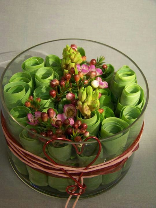 Rolled up leaves with flowers