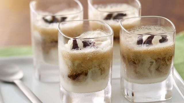 floats cold drink made using beer and ice cream topped with chocolate ...