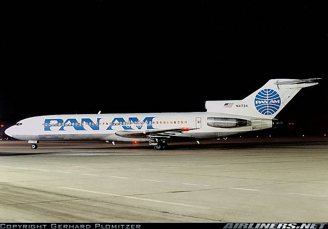 "Pan American World Airways Boeing 727-235 N4734 ""Clipper Charmer"" at Nürnberg-International, February 1988. (Photo: Gerhard Plomitzer)"