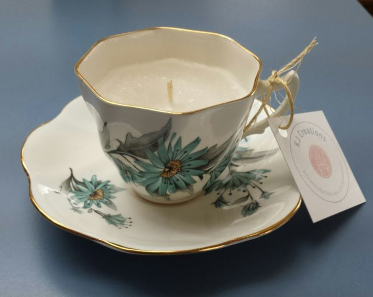 Unscented Candle in a Vintage Bone China Tea Cup #kjcreations #diy #crafts #homedecor #shabbychic #farmhousechic #vintage #upcycled #bonechina #teacup