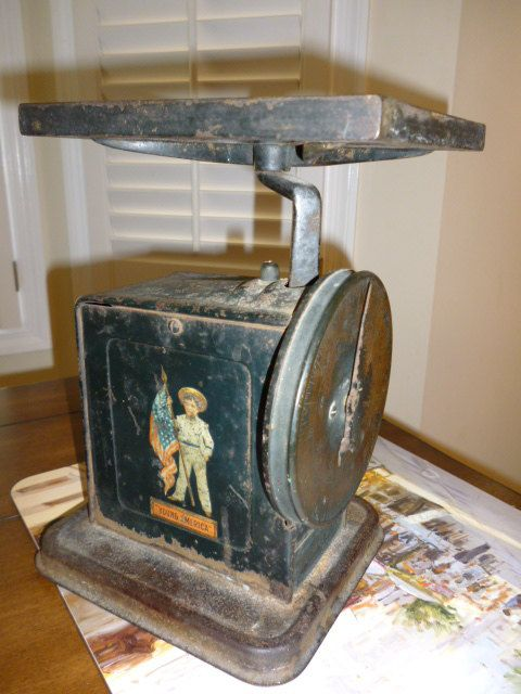 wonderful old scale-American Cutlery antique 20lb tabletop scale. $45.00, via Etsy.