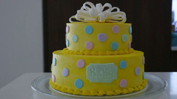 Baby shower cake yellow polka dots