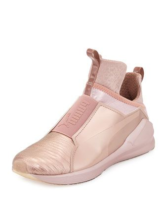 Fierce+Lizard-Embossed+High-Top+Sneaker,+Rose+Gold+by+Puma+at+Neiman+Marcus.