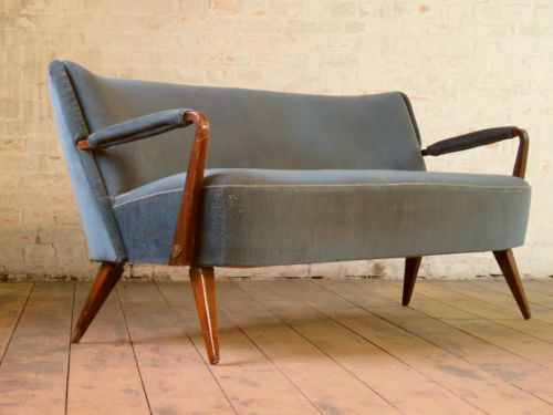 Mid Century Retro 2 Seater Club Sofa Daybed Chaise Bed Couch Vintage 50s 60s  in Antiques, Antique Furniture, Sofas/ Chaises, 20th Century   eBay