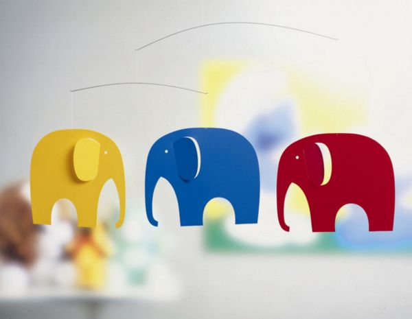 Flensted Mobiles Colour Elephant Party Mobile : Designed back in 1976 this elephant mobile is an icon for Flensted Mobiles. A red, a yellow, and a blue elephant comfortably trundling along together. Three baby elephants (not suspended) suitable for bookmarks etc., are enclosed in the box, The ideal gift for a child. Also available in black / white and grey. Mobiles are not just for children!, The mobile creates inner peace, when it with its graceful and almost therapeutic and calm…