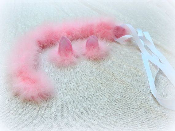 Cat ears and tail pink cat halloween costume adult cat by TutuHot