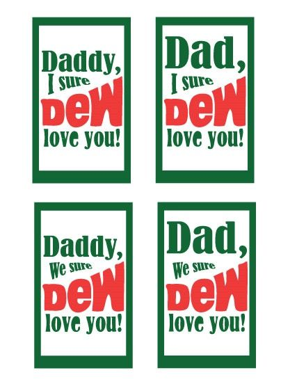 Valentines Printable: Mountain Dew Tag #father #gift #printable